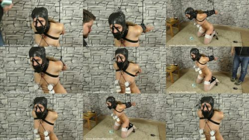 Milk and  fucking machine  for slave,  Girl is bounded and secured in an armbinder