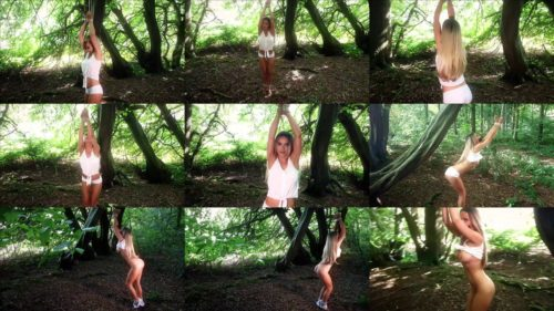 Tied Jasmine Sinclair  rope on the tree and left!