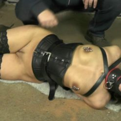 Leather Bondage Juliette is slaved and gagged in the mask,