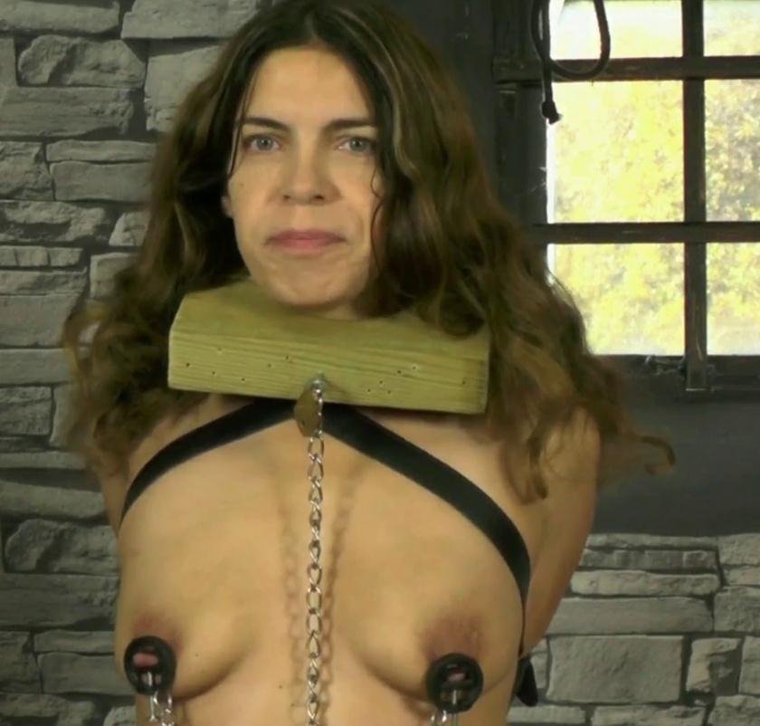 Leather bondage - Slave bounded Juliette in mask and her Master - Preparing The Slavegirl
