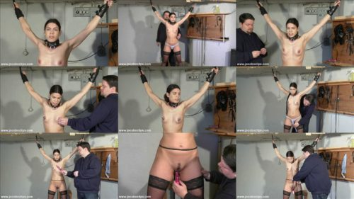 Juliette tied up in the dungeon, The chick  is bounded and rope holds her