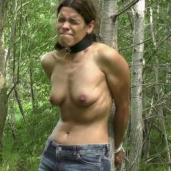 Slavegirl is blindfolded tied to a tree - She tormented outdoors, It hurts so much