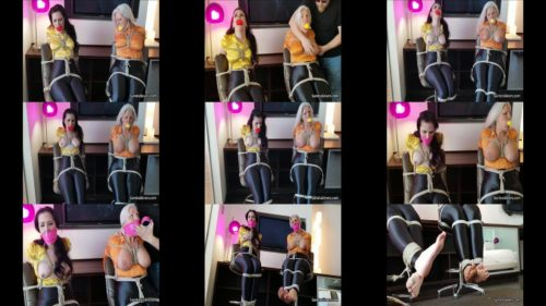 Sandra Silvers and Carolinie Pierce are bound and tied up on  chair, Their massive mouths stuffing and wrapping of pink tape gag