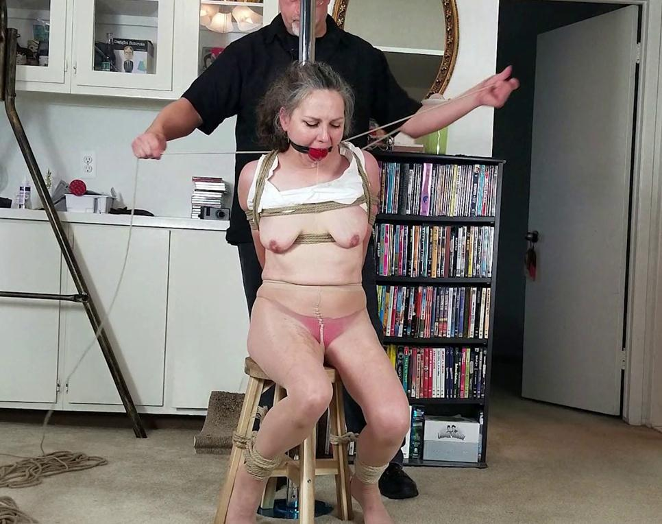 Cinched and Secured, Bounded to a pole - Genevieve's Tearful Tit Torment