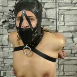 Juliette is preparied to be the human cow - Leather Bondage, Slavegirl is bonded and gagged