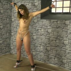 Vibrated At The Dungeon - Juliette is tied with leather cuffs and rope