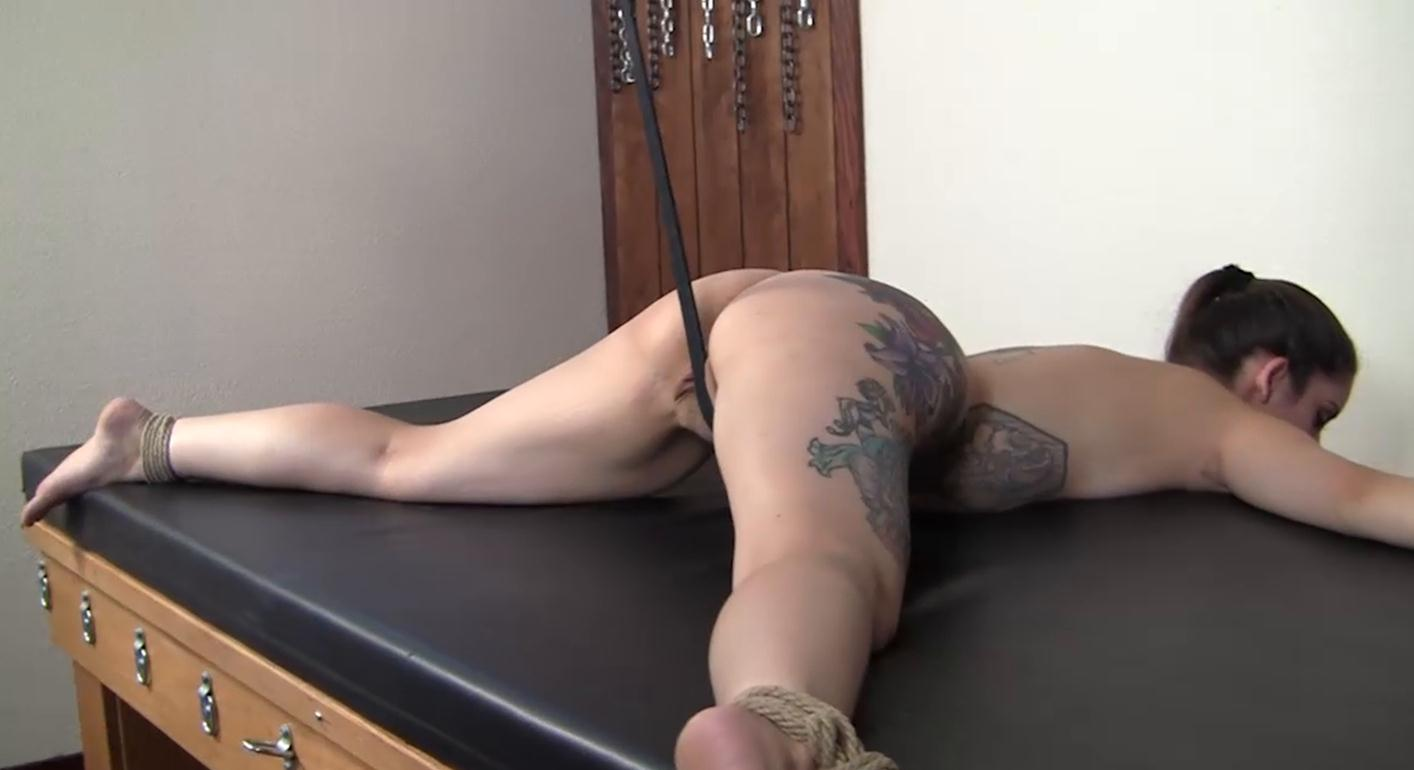 Predicament bondage - Bound tightly Samantha Bubbles with rope and a leather strap