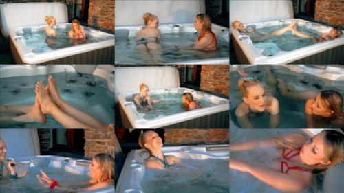 Lesbian bondage - Penny Lee and Ariel Anderssen tied up in hot tub -Sensual bondage