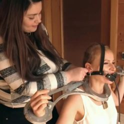 Pump gag Challenge - Anastasia and Maya with metal collar and metal cuffs - Who can last the longest with the gag?
