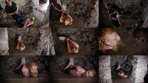 Ariel Anderssen punished after her workout - Sensual slave girl is tied with pink rope in the dungeon by her Master - Rope bondage