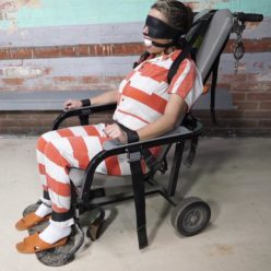 Big white gag for JJ is strapped into the restraint chair with cuffs - Jail bound JJ Plush - Prison Bondage