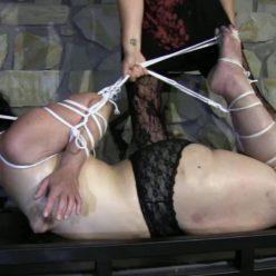 Extreme Bondage - Super tight bondage for Minuit with rope - Dungeon Hogtie