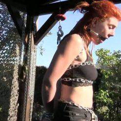 Outdoor bondage - Outdoor chain steel for extreme bondage predicament for Muriel - Supertight bondage