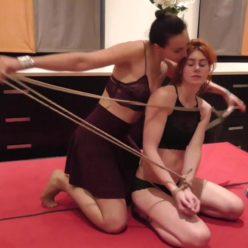 Female Bondage - Muriel LaRoja meets Feringapark. Tied Muriel up is super tight bond with ropes - Public bondage