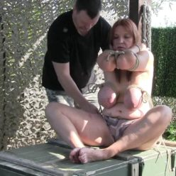 Breast bondage for Bettine with ropes - Bettine is back - Super tight extreme Bondage - Outdoor Bondage