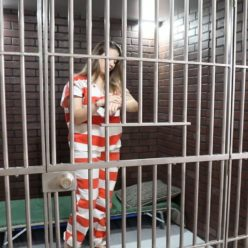 Metal Bondage - Handcuffed Renee in her jail cell - Model Renee Risque Arrested Part 3