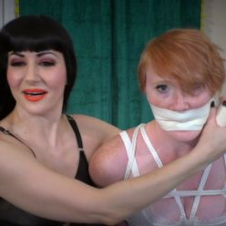Tied Izzabella Robbins up with candid tie with a sexy bondagette. She wrapped up with a tight and microfoam over the mouth gag - Female Bondage