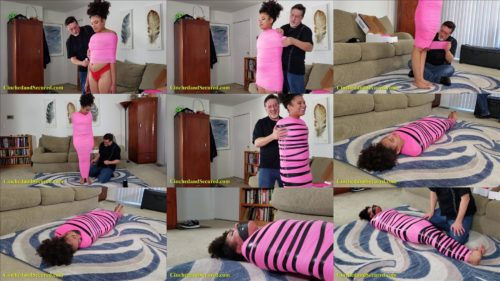 Mummification gagged women with pink electrical tape  - Jayda Blayze -  First Mummification Bondage - Tape bondage