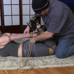 Victim to tight rope bondage - Nadia White strap gagged and tightly tied with jute rope in high heeled sandals HD - Rope bondage