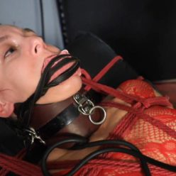 Breath control - Elise Graves Under the Pump - Extensive collection of bondage gear - the hand-crafted inflatable posture collar, gag and ropes for rope bondage and neck play