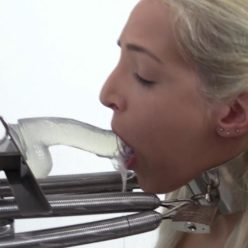 Metal bondage Liz Rainbow with metal collar, high tension and wrist cuffs - Deep Throat Predicament