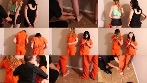 Cuffs - Shackles - Prisonteens Scarlett and Natasha  with leg shackled and handcuffed - Scarlett and Natasha in Jumpsuits Handcuffed and Shackled
