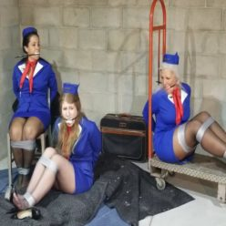 DiD Bondage Peril - Tied trio of MILF stewardesses with tape gag - Sandra Silvers, Constance Coyne, Salena Kent use to zip ties, duct tape tape bondage and tape gag for bondage