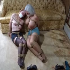Rope bondage - Tightly tethered beautiful milfs held hostage in abandoned trailer - Struggle to Escape