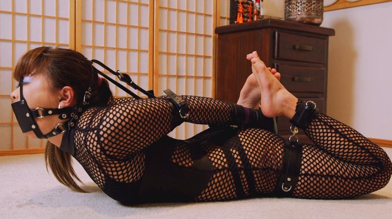 Leather bondage - Mina is locked in her new leather cuffs. She is tightly restrained and gagged in new cuff set - Part 2 of 2
