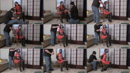 Rachel Adams so sweet is tied and and a heavy leather  muzzled in wedge boots - Rachel sexily squirms and struggles - Part 1 of 2