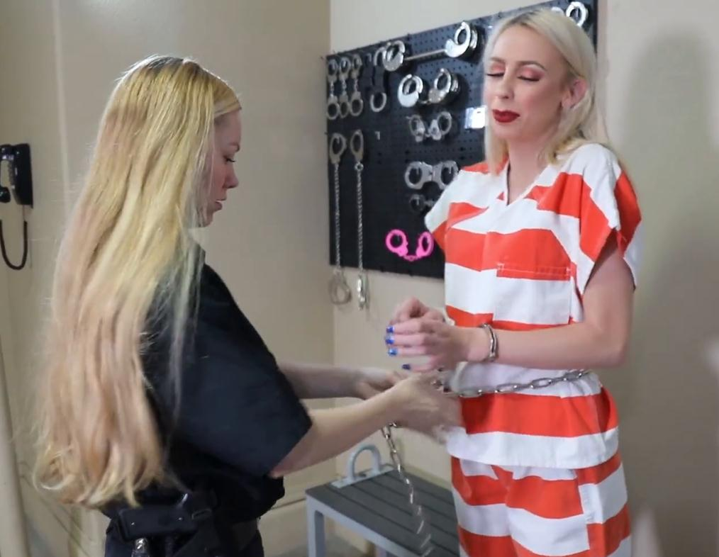 Hand cuffs and shackles - Officer Lisa Arresting Summer and put hand cuffs, iron leg shackles on - Part 2 of 3 - Metal bondage