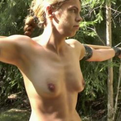 Outdoor bondage - Stretched Juliette in a spread eagle in the woods - Subjugated Outdoors - Juliette Tied to a Bar