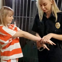 Metal Bondage - Cute prisonteens Ziva and Cara May with leg shackles, metal handcuffs in jumpsuit- Stripper Arresting Part 3