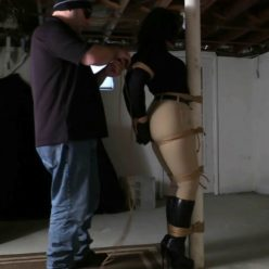 Sahrye is tightly bound with rope and gagged with a black leather strap gag! Equestrian Mistress Enchantress is sahrye bound to the dungeon Post! Rope bondage Sahrye is tightly bound with rope and gagged with a black leather strap gag! Equestrian Mistress Enchantress is sahrye bound to the dungeon Post! Rope bondage