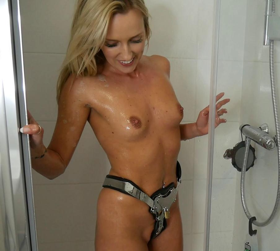 Chastity - Bex White in chastity metal belt - Babes Bex White in a carrara belt - Showering - Metal Bondage