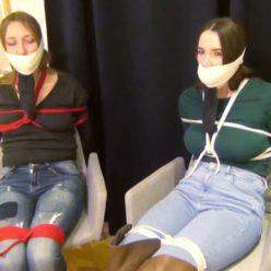 Bondage friends - Tied friends up with ropes and gagged with microfoam - Bondish female bondage