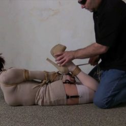 Fantastic bound up and struggling - Sexy Sarah Brooke gets tightly bound ,hogtied with jute rope with a huge white ballgag - In the basement dungeon