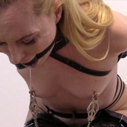 Bound Ariel Anderssen by belt is put huge posture collar, frogtie straps and a tight ballgag on - Hates Clover Clamps - Leather bondage