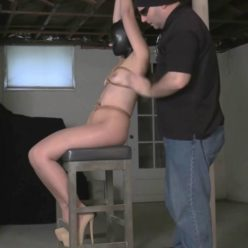 Predicament poor Rachel Adams is hooded with a tight, black leather full coverage hood - In the Basement Dungeon Part 1 of 2