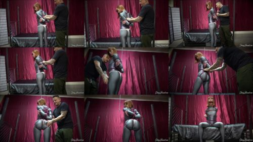 """Spandex fetish - Alexa Nova  drools all down , she tightly tied on a """"buttlifter"""" crotchrope - Double Jointed Boxtie"""