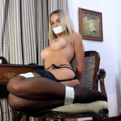 "Gagged Jasmine Sinclair tied up wiht strick rope - She dressed stocking and flimsy panties Your Secretary: ""I Want It, Sir!"""