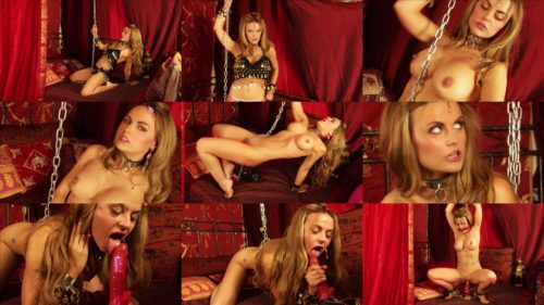 Metal Bondage for Jasmine Sinclair with heavy steel shackles and collar - Harem Concubine Serves Your Every Desire