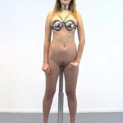 Metal collar for Mistress Kristin - Mistress Kristin on Her Toes - On the One Bar Prison