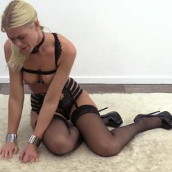 Sensual bondage - Bound sensual Sophie in a shock collar and chastity belt
