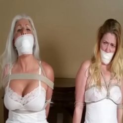 Stuffs and the cleave gag for chair tied MILF Damsels - Close Up Massive Mouth Stuffing and Generous Wrap Gagging