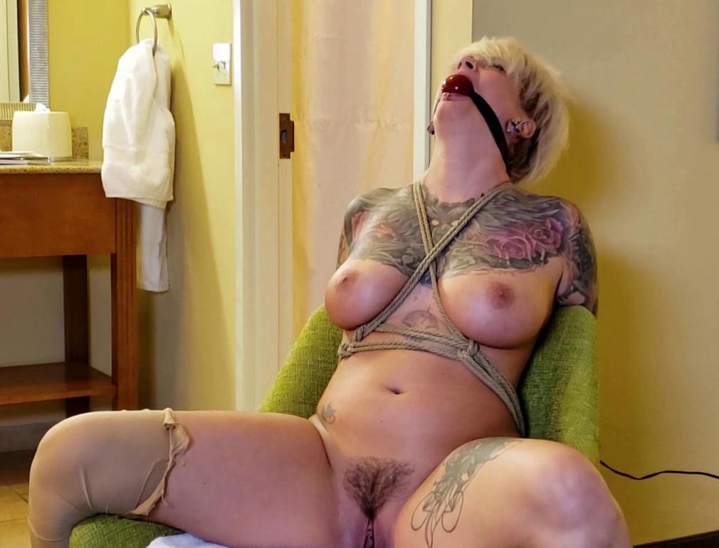 gagged, naked and tied to a chair by ropes – Ava's Hotel Horror