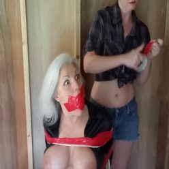 Cleave gagged milf Sandra Silvers with super sticky tape - Groped and Orgasm Tormented