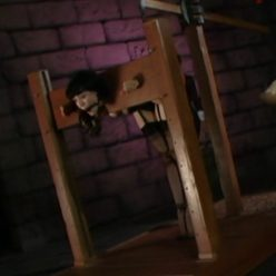 The Adventures of O-girl in to the dungeon in a bondage box – Return of the Black Minx Dr. Rush's in the Stocks