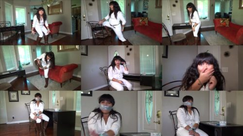 Bound Vanessa Luxx is taped gagged with duct tape - Cocky hawaiian blabber mouth taped and  gagged