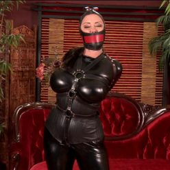 Leather Bondage - Christina Carter is bound in tight catsuit, leather single glove, hood and collar – DSO to Order